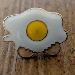 Sunny Side Up Egg Enamel Pin Badge NWOT